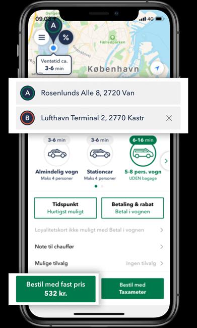 Beregn prisen på din taxa minibus tur i TAXA 4x35 appen
