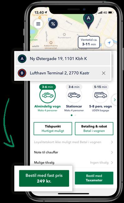 Beregn prisen på din taxa tur i TAXA 4x35 appen og kør med fast pris