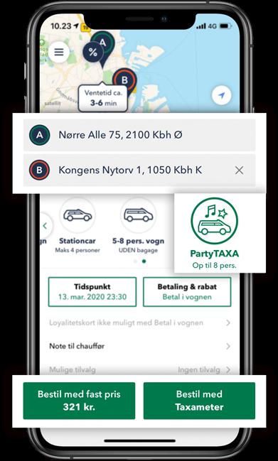 Bestil en PartyTAXA i TAXA 4x35 appen