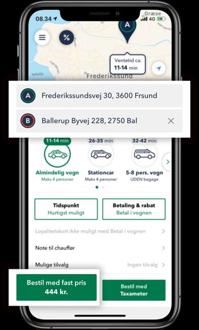 Bestil TAXA Frederikssund- beregn prisen på din taxi tur i TAXA 4x35 appen