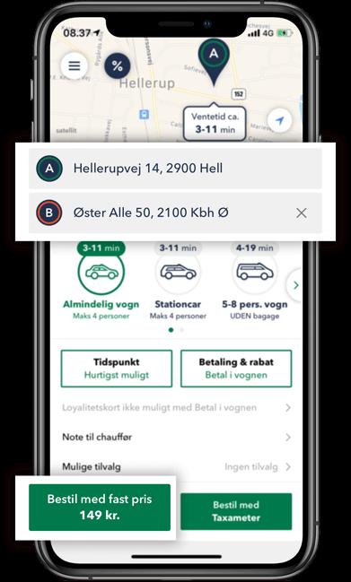 Bestil TAXA Hellerup- beregn prisen for din taxi tur i TAXA 4x35 appen
