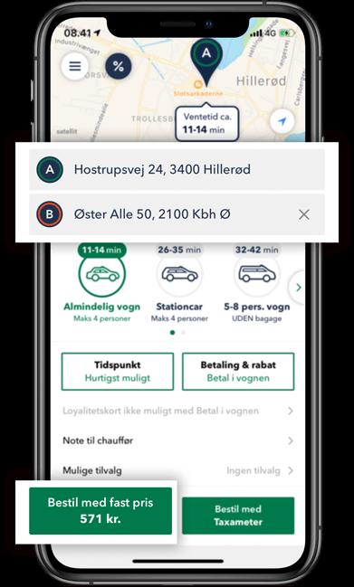 Bestil TAXA Hillerød- beregn prisen for din taxi tur i TAXA 4x35 appen