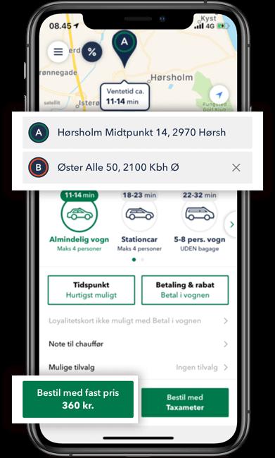 Bestil TAXA Hørsholm- beregn prisen på din taxi tur i TAXA 4x35 appen