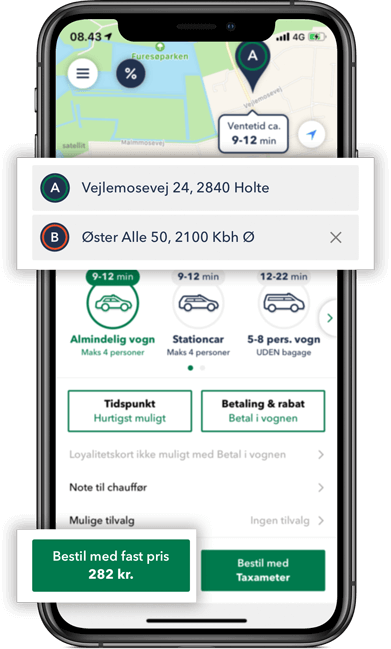 Bestil TAXA Holte- beregn prisen på din taxi tur i TAXA 4x35 appen