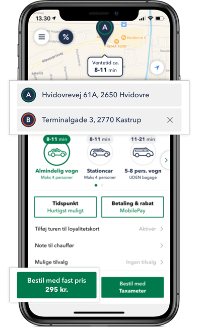Bestil TAXA i Hvidovre - optjen rabat på 9 app ture og brug rabatten på din 10. tur i TAXA 4x35 appen