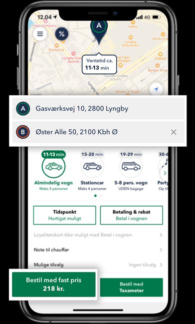 Bestil TAXA Kongens Lyngby beregn prisen på din taxi tur i TAXA 4x35 appen