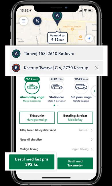 Bestil TAXA i Rødovre - optjen rabat på 9 app ture og brug rabatten på din 10. tur i TAXA 4x35 appen