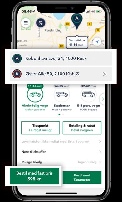 Bestil TAXA Roskilde - beregn prisen på din taxi tur i TAXA 4x35 appen