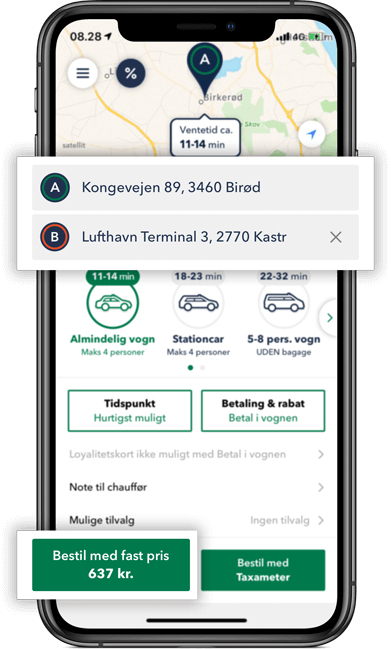 Bestil TAXA Birkerød - beregn din taxi pris i appen