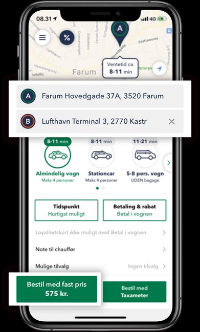 Bestil TAXA Farum - beregn din taxi pris i appen