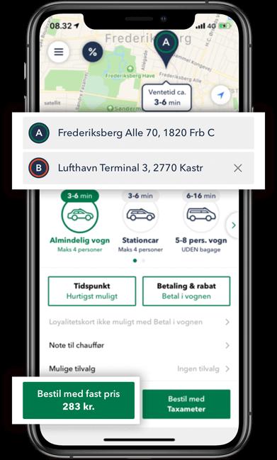 Bestil TAXA Frederiksberg- beregn prisen på din taxi tur i TAXA 4x35 appen