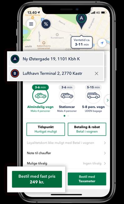Bestil en TAXA i København og beregn prisen på din taxi tur i appen