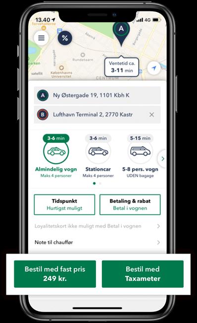 Bestil taxa med fast pris via TAXA 4x35 appen