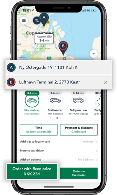 Book a taxi in Copenhagen and use the taxi app to calculate your fare price