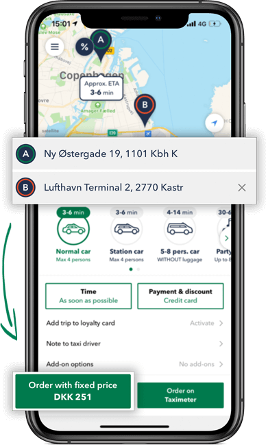 Calculate the price of your taxi ride in the taxi app