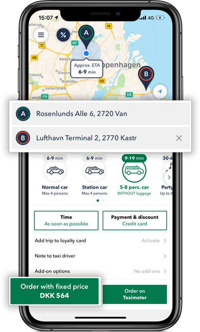 Calculate your taxi minibus price inside the taxi app