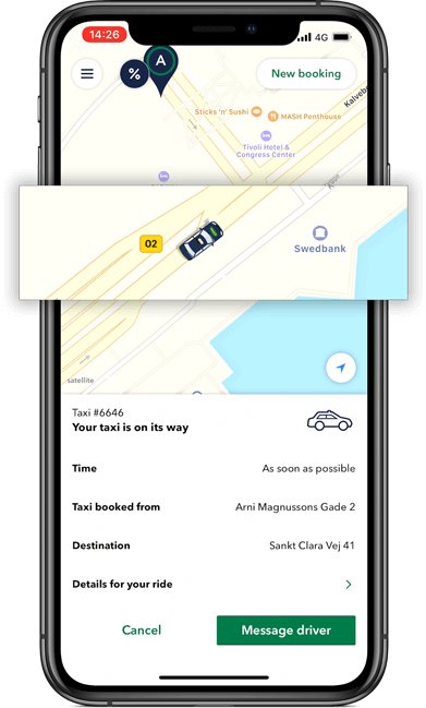 Get the taxi app and follow your taxi as it approaches you at your pickup destination