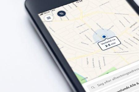 I taxa appen ser du som det første den forventede ventetid