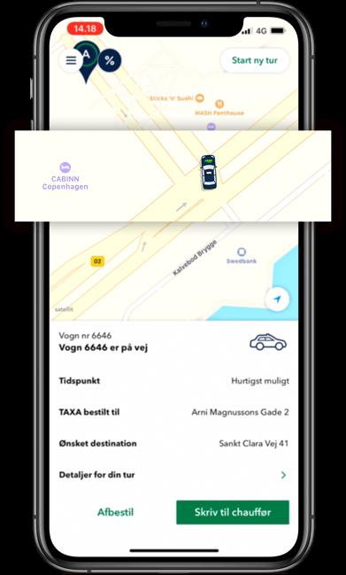 Følg din bestilte taxi vogn på kortet i TAXA 4x35 appen