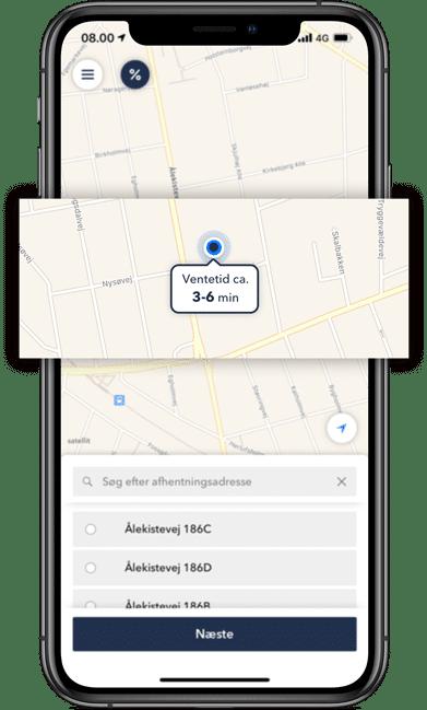 Se den forventede ventetid i taxa app