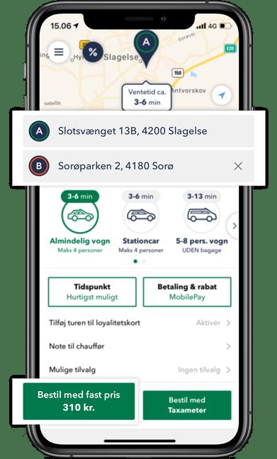 Taxa Slagelse - Se forventet ventetid i appen